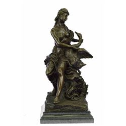 Nude Woman Swan Bronze Statue on Marble Base Sculpture