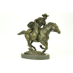 Western Cowboy Horse Ranch Bronze Sculpture on Marble Base Statue