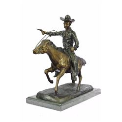 Cowboy Charges Bronze Sculpture Statue Marble Base Figurine