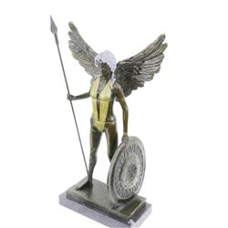 Viking Warrior Bronze Statue on Marble Base Sculpture