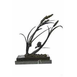 Bird Marshland Bronze Sculpture on Marble Base Statue