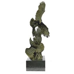 Two Fighting Eagles Wildlife Bronze Sculpture