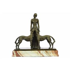 Friends Forever Lady with Dogs Bronze Figurine