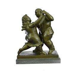 Dancing Couple Bronze Figurine on Marble Base Sculpture
