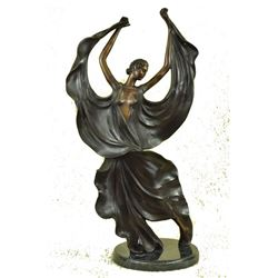 Flamenco Dancer Bronze Sculpture on Marble Base Figurine