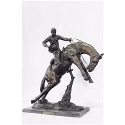 Twister Cowboy on Horseback Bronze Sculpture
