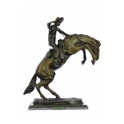 Cowboy Horse on Marble Base Bronco Buster Bronze Statue