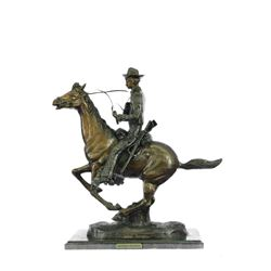 Trooper of the Plains by Cowboy on Horse Bronze Sculpture