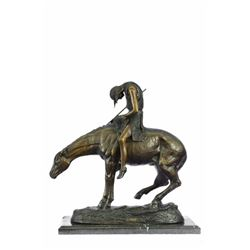 American Indian Man on Horse Bronze Sculpture