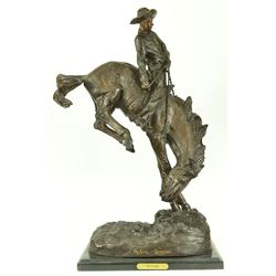 Out Law Cowboy On Horse Bronze Statue on Marble Base Sculpture