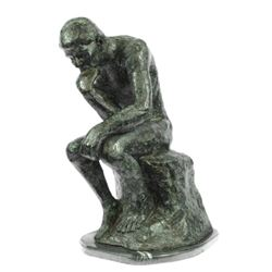 Thinker Famous Work Bronze Sculpture on Marble Base Figurine