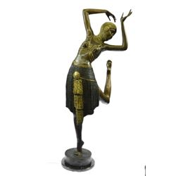 Dancer Bronze Figure on Marble Base Sculpture