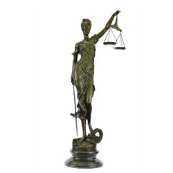 Blind Justice Bronze Sculpture on Marble Base Figure