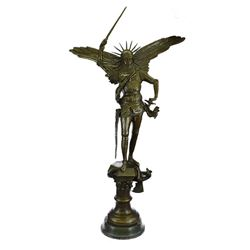 Archangel with Sword Bronze Sculpture on Marble Base Sculpture