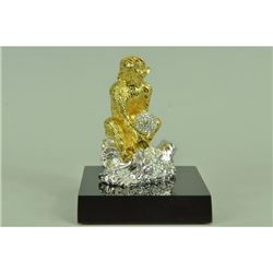 Gold Plexiglases Thinking Monkey Sculpture