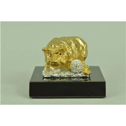 Gold Plexiglases Pig Money Lucky Figurine