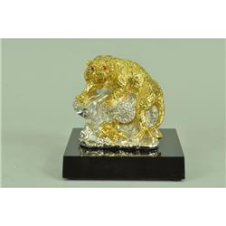 Gold Plexiglases Royal Bengal Tiger Genuine Statue