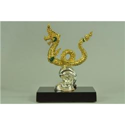 Gold Plexiglases Thai King Dragon Desk Sculpture