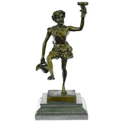 Greek God of Wine Bronze Sculpture on Marble Base Statue