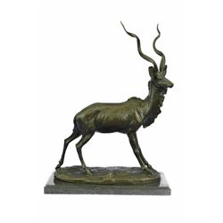 Elk Buck Hunter Bronze Sculpture