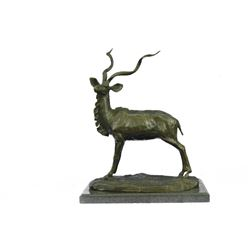 Elk Buck Stag Deer Bronze Sculpture on Marble Base Statue