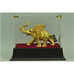 Gold Plexiglases African Elephant Sculpture