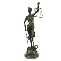 Blind Justice Bronze sculpture on Marble Base Statue