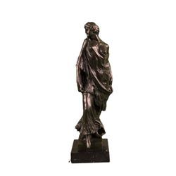 1920 Style Model Bronze Sculpture on Marble Base Statue