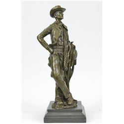Cowboy With Rope Bronze Sculpture