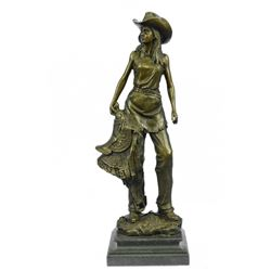 Cowgirl With Saddle Bronze Sculpture