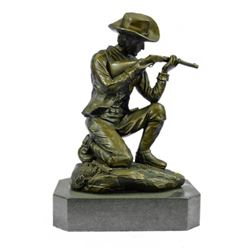 Cowboy With Gun Bullet Rifle Shooting Range Bronze Sculpture