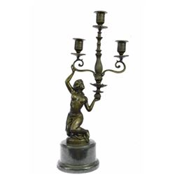 Erotic Nude Girl Candleholder Bronze Sculpture