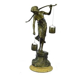 Bucket Bronze Sculpture on Marble Base Figurine