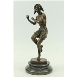 Court Jester Bronze Sculpture on Marble Base Statue