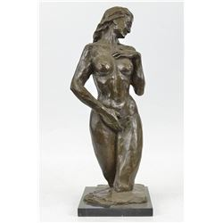 Female Torso Bronze Sculpture on Marble Base Statue