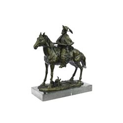 Tribute Hot Cast Cowboy With Riffle on Horse Bronze Sculpture