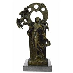 Mythical of A Dragon And Woman Bronze Sculpture