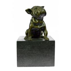 Bulldog Dog Animal Bronze Sculpture on Marble Base Statue