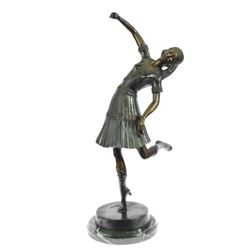 Egyptian Lady Dancer Bronze Statue on Marble Base Sculpture
