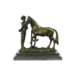 Cowboy and his Trusted Horse Bronze Sculpture