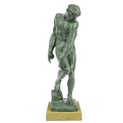 Nude Male Bronze Statue on Marble Base Sculpture