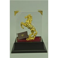 Gold Plexiglases Rearing Horse Figurine