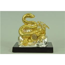 Gold Plexiglases and Silver Plated Snake Sculpture