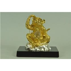Gold Plexiglases Thinker Monkey Sculpture
