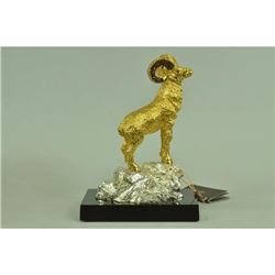 Gold Plexiglases Shaggy Sheep or Ram Sculpture