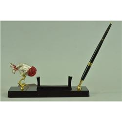 Gold Plexiglases Fish with Ruby Pen Holder