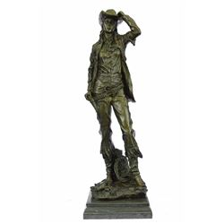 Western art Cowgirl Bronze Sculpture