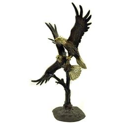 Unbelievable Large Dueling Eagles Captivating Bronze Sculpture