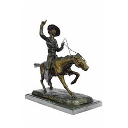 Cowboy Riding Bronze Sculpture on Marble Base Figurine