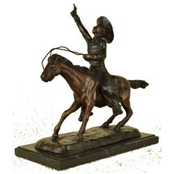 Pony Express Cowboy Bronze Sculpture